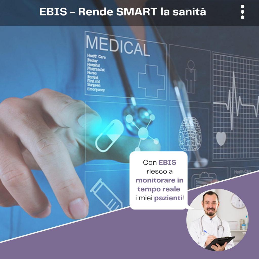 dottore che usa app EBIS per rilevazione e analisi dati biomedici